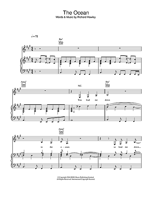 Richard Hawley The Ocean sheet music notes and chords. Download Printable PDF.