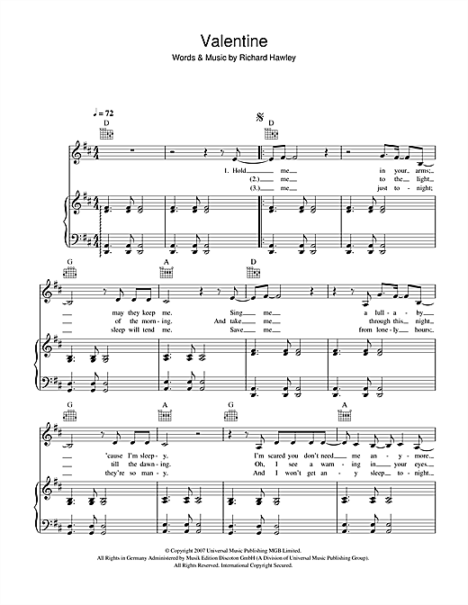 Richard Hawley Valentine sheet music notes and chords