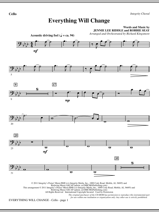 Richard Kingsmore Everything Will Change - Cello sheet music notes and chords. Download Printable PDF.