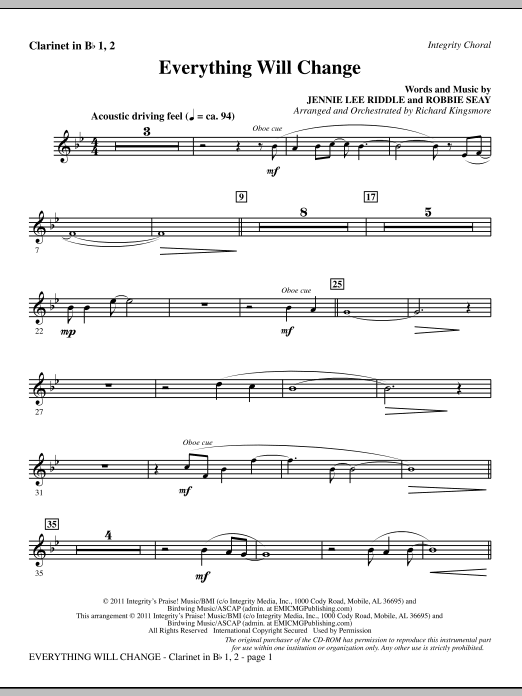 Richard Kingsmore Everything Will Change - Clarinet 1 & 2 sheet music notes and chords. Download Printable PDF.