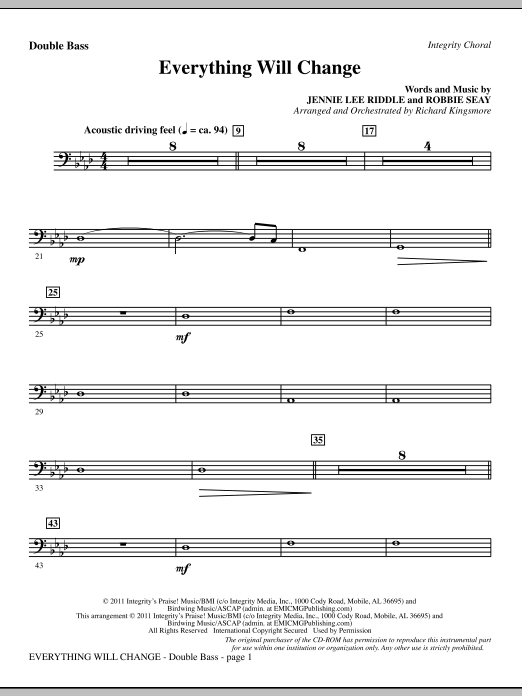 Richard Kingsmore Everything Will Change - Double Bass sheet music notes and chords. Download Printable PDF.