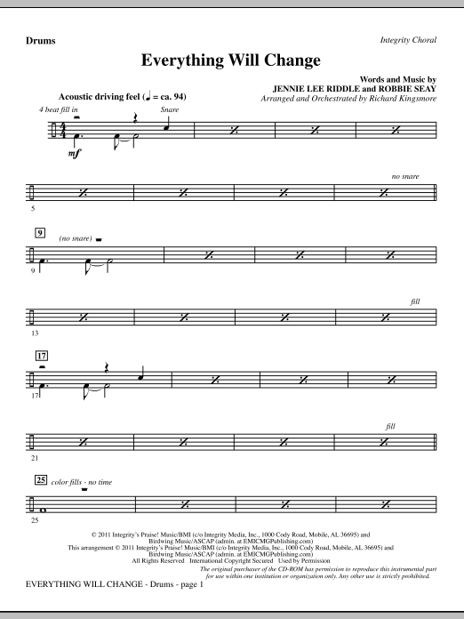 Richard Kingsmore Everything Will Change - Drums sheet music notes and chords. Download Printable PDF.
