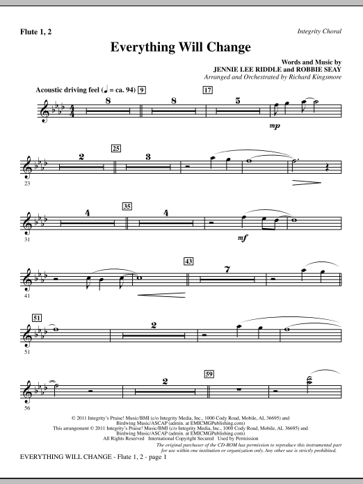 Richard Kingsmore Everything Will Change - Flute 1 & 2 sheet music notes and chords. Download Printable PDF.