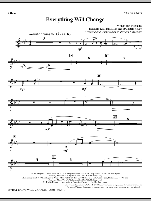 Richard Kingsmore Everything Will Change - Oboe sheet music notes and chords. Download Printable PDF.