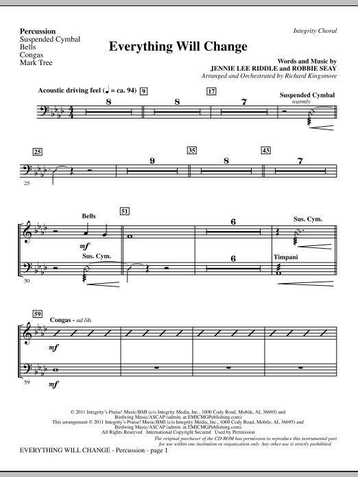 Richard Kingsmore Everything Will Change - Percussion sheet music notes and chords. Download Printable PDF.