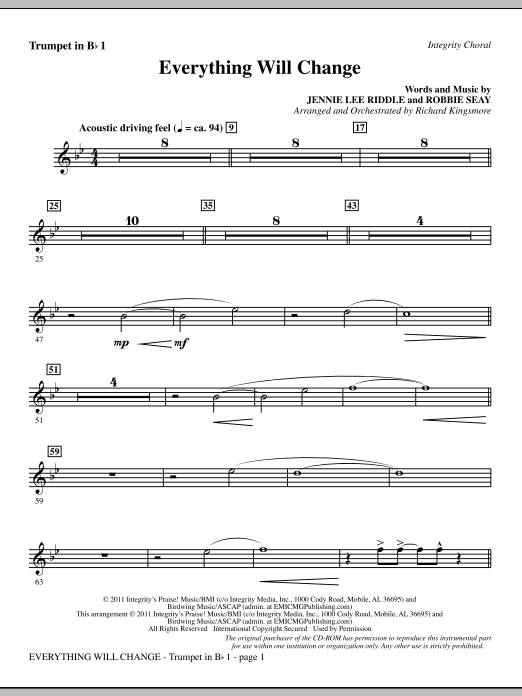 Richard Kingsmore Everything Will Change - Trumpet 1 sheet music notes and chords. Download Printable PDF.