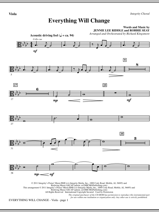 Richard Kingsmore Everything Will Change - Viola sheet music notes and chords. Download Printable PDF.