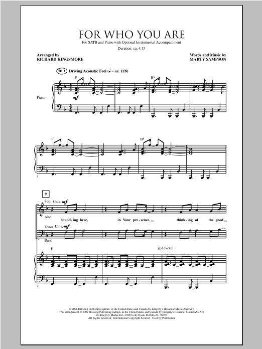 Richard Kingsmore For Who You Are sheet music notes and chords. Download Printable PDF.