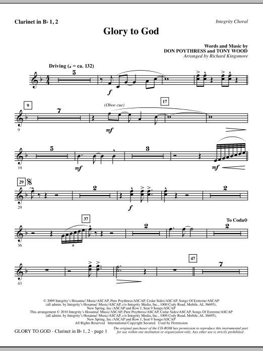 Richard Kingsmore Glory To God - Clarinet 1 & 2 sheet music notes and chords. Download Printable PDF.