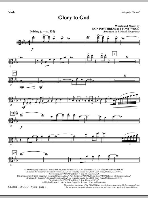 Richard Kingsmore Glory To God - Viola sheet music notes and chords. Download Printable PDF.