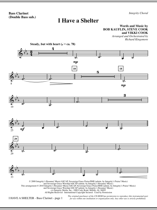 Richard Kingsmore I Have A Shelter - Bass Clarinet (sub. dbl bass) sheet music notes and chords. Download Printable PDF.