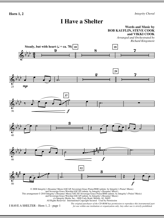 Richard Kingsmore I Have A Shelter - Horn 1 & 2 sheet music notes and chords. Download Printable PDF.