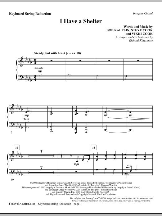 Richard Kingsmore I Have A Shelter - Keyboard String Reduction sheet music notes and chords. Download Printable PDF.