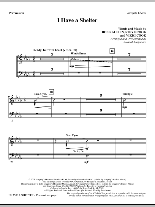 Richard Kingsmore I Have A Shelter - Percussion sheet music notes and chords. Download Printable PDF.