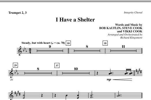 Richard Kingsmore I Have A Shelter - Trumpet 2 & 3 sheet music notes and chords. Download Printable PDF.