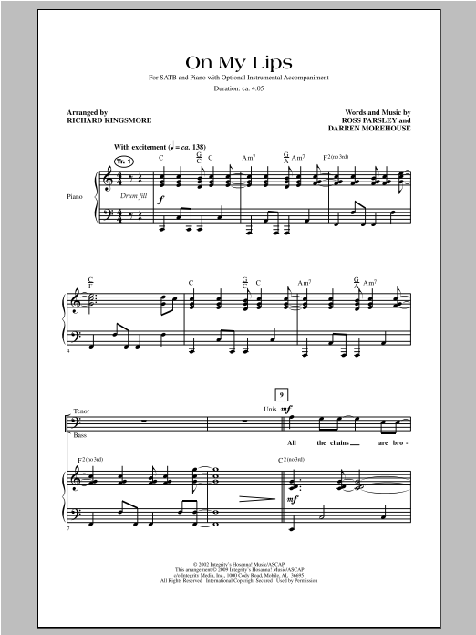 Richard Kingsmore On My Lips sheet music notes and chords. Download Printable PDF.