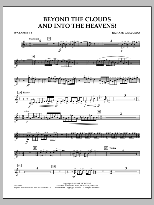 Richard L. Saucedo Beyond the Clouds and Into the Heavens! - Bb Clarinet 2 sheet music notes and chords. Download Printable PDF.