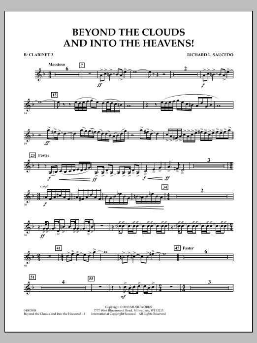 Richard L. Saucedo Beyond the Clouds and Into the Heavens! - Bb Clarinet 3 sheet music notes and chords. Download Printable PDF.