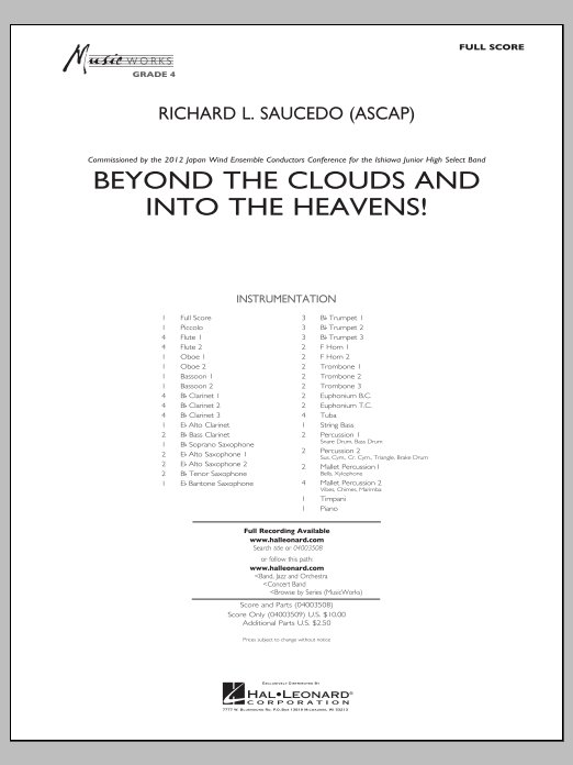 Richard L. Saucedo Beyond the Clouds and Into the Heavens! - Conductor Score (Full Score) sheet music notes and chords. Download Printable PDF.