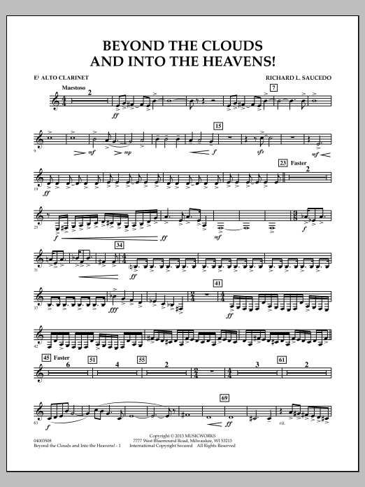 Richard L. Saucedo Beyond the Clouds and Into the Heavens! - Eb Alto Clarinet sheet music notes and chords. Download Printable PDF.