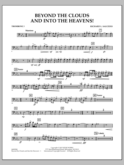 Richard L. Saucedo Beyond the Clouds and Into the Heavens! - Trombone 3 sheet music notes and chords. Download Printable PDF.