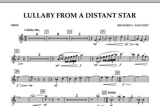 Richard L. Saucedo Lullaby From A Distant Star - Oboe sheet music notes and chords