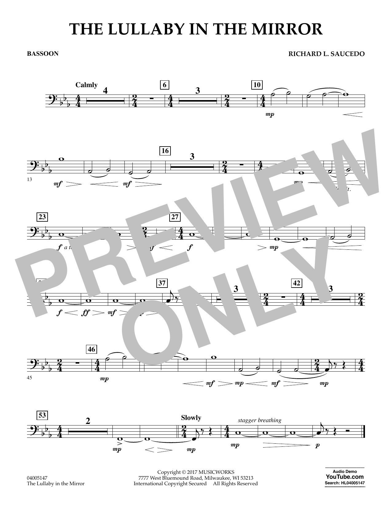 Richard L. Saucedo The Lullaby in the Mirror - Bassoon sheet music notes and chords. Download Printable PDF.