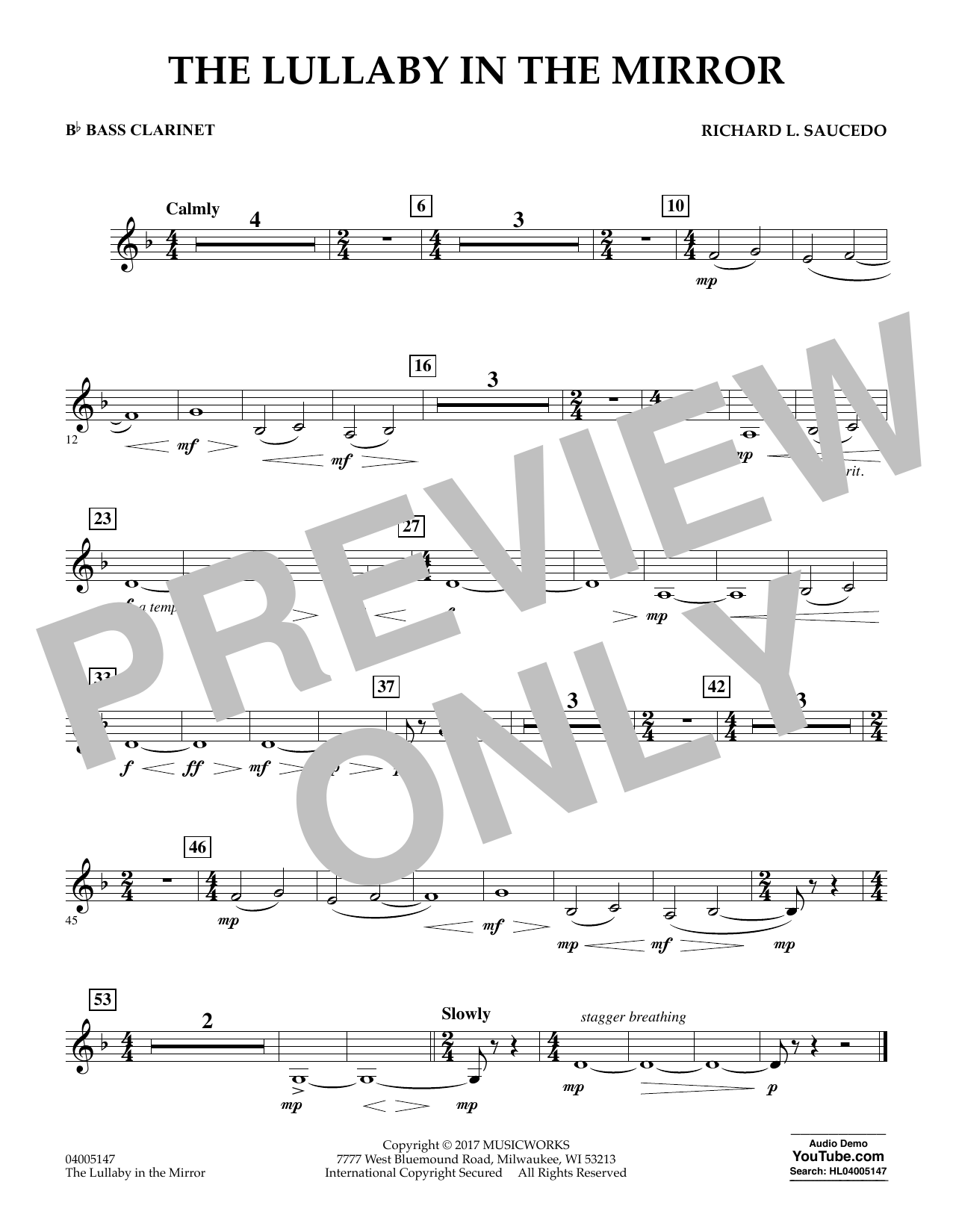 Richard L. Saucedo The Lullaby in the Mirror - Bb Bass Clarinet sheet music notes and chords. Download Printable PDF.