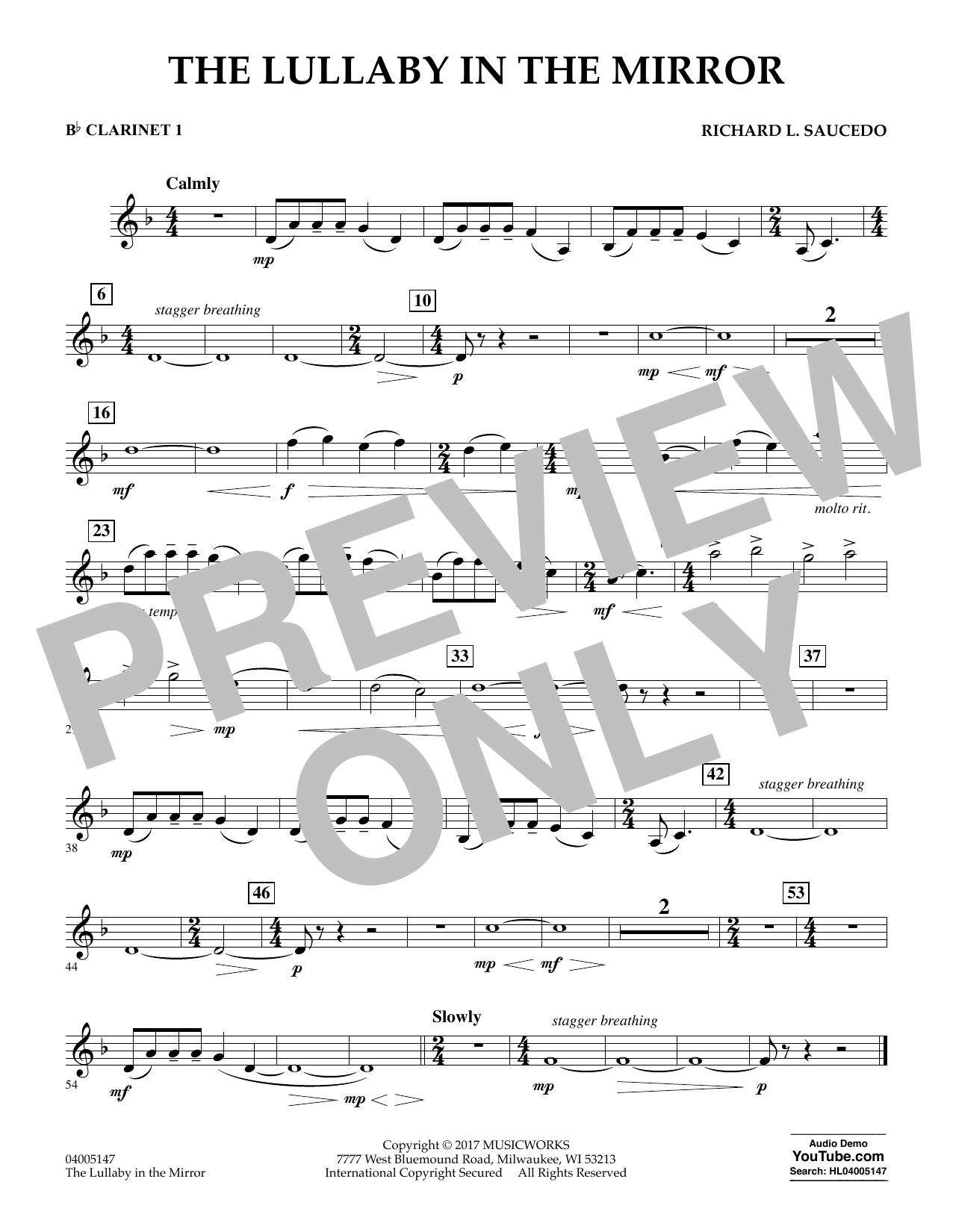Richard L. Saucedo The Lullaby in the Mirror - Bb Clarinet 1 sheet music notes and chords. Download Printable PDF.