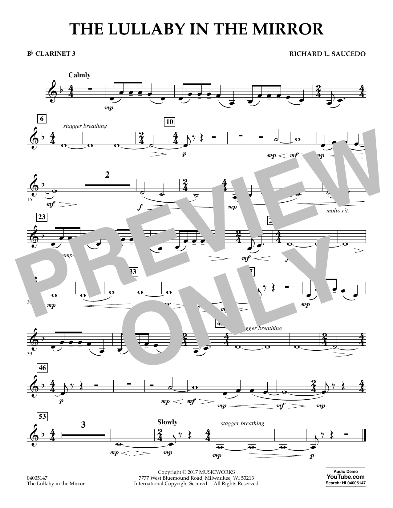 Richard L. Saucedo The Lullaby in the Mirror - Bb Clarinet 3 sheet music notes and chords. Download Printable PDF.