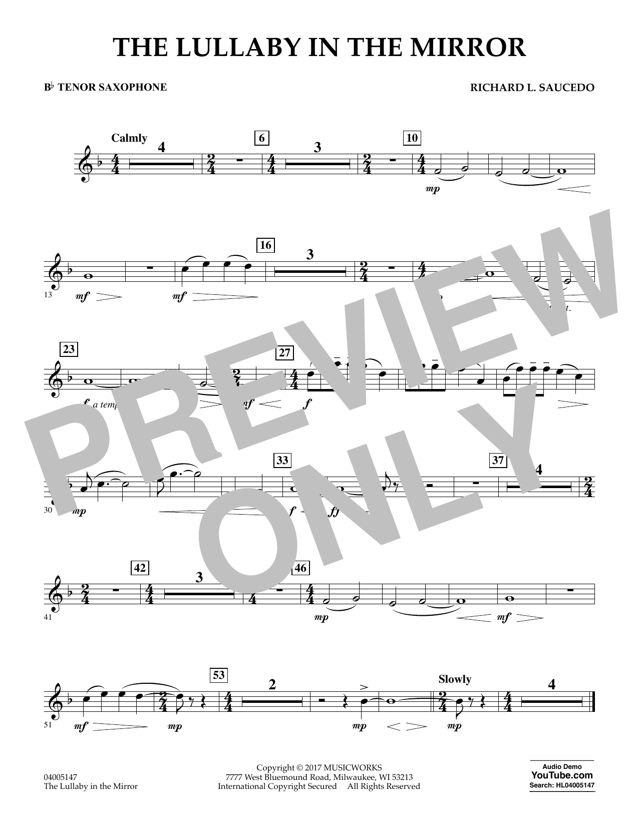 Richard L. Saucedo The Lullaby in the Mirror - Bb Tenor Saxophone sheet music notes and chords. Download Printable PDF.