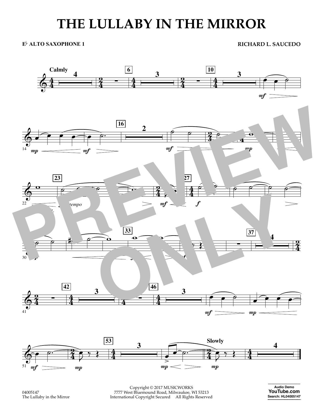 Richard L. Saucedo The Lullaby in the Mirror - Eb Alto Saxophone 1 sheet music notes and chords. Download Printable PDF.