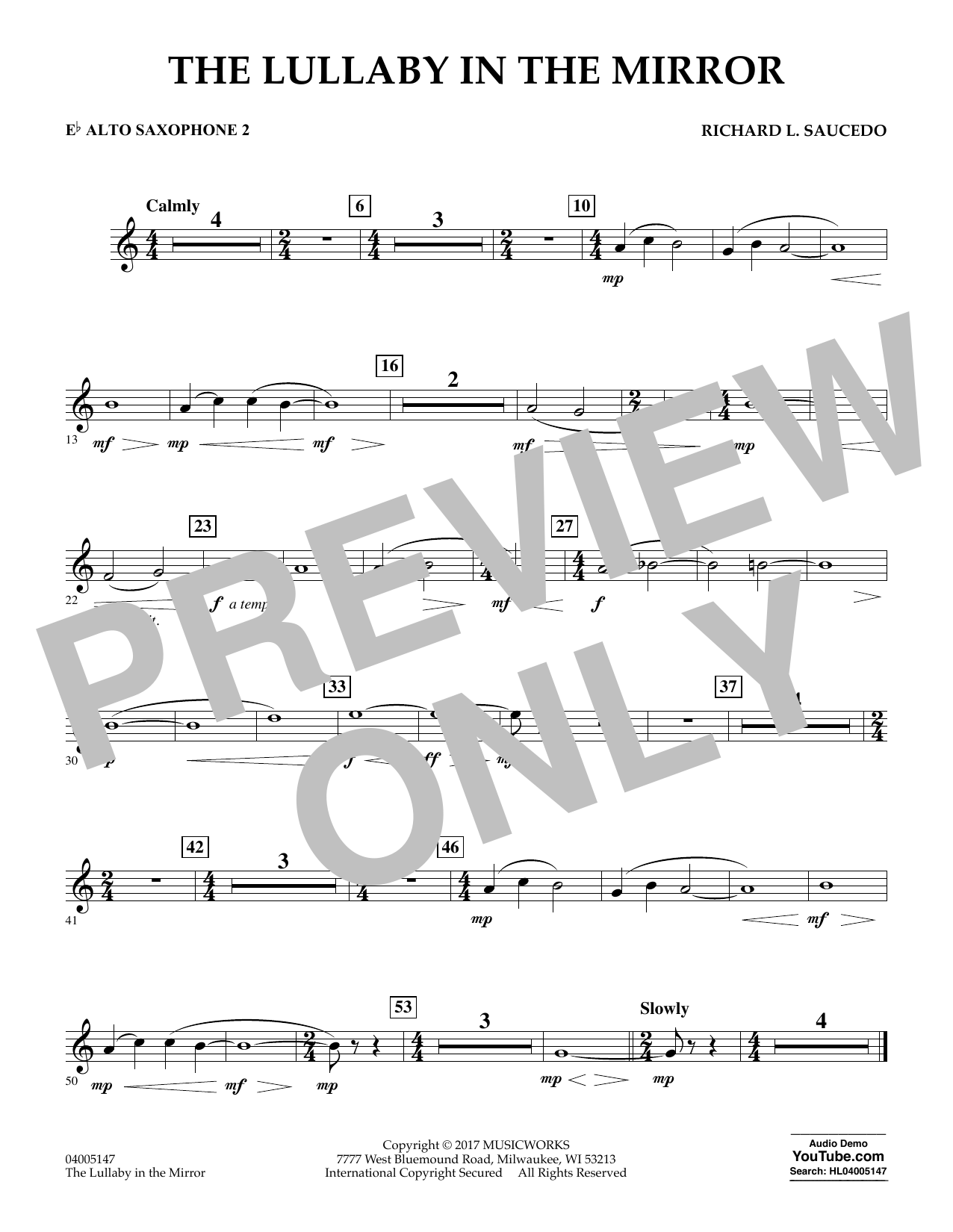 Richard L. Saucedo The Lullaby in the Mirror - Eb Alto Saxophone 2 sheet music notes and chords. Download Printable PDF.