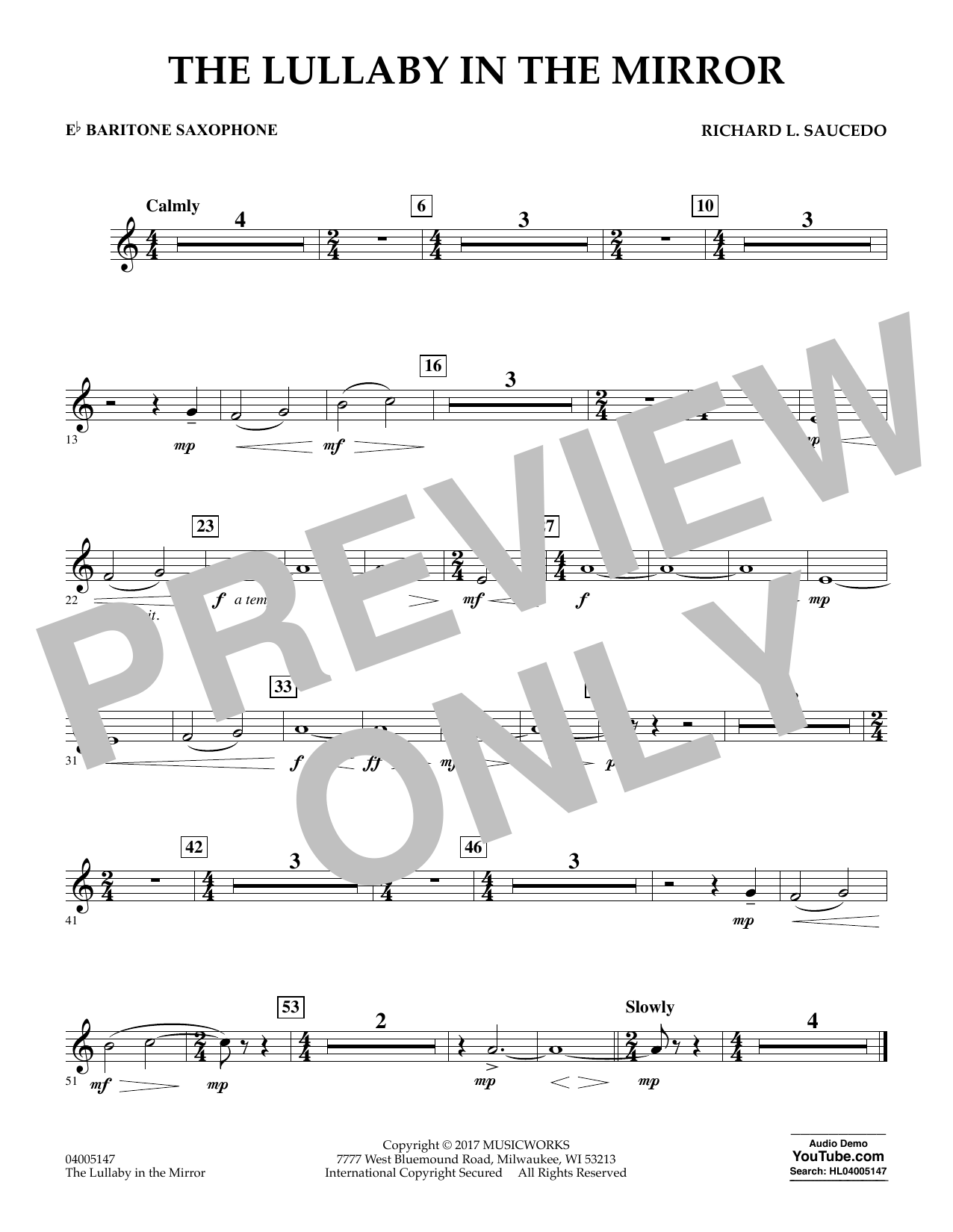 Richard L. Saucedo The Lullaby in the Mirror - Eb Baritone Saxophone sheet music notes and chords. Download Printable PDF.