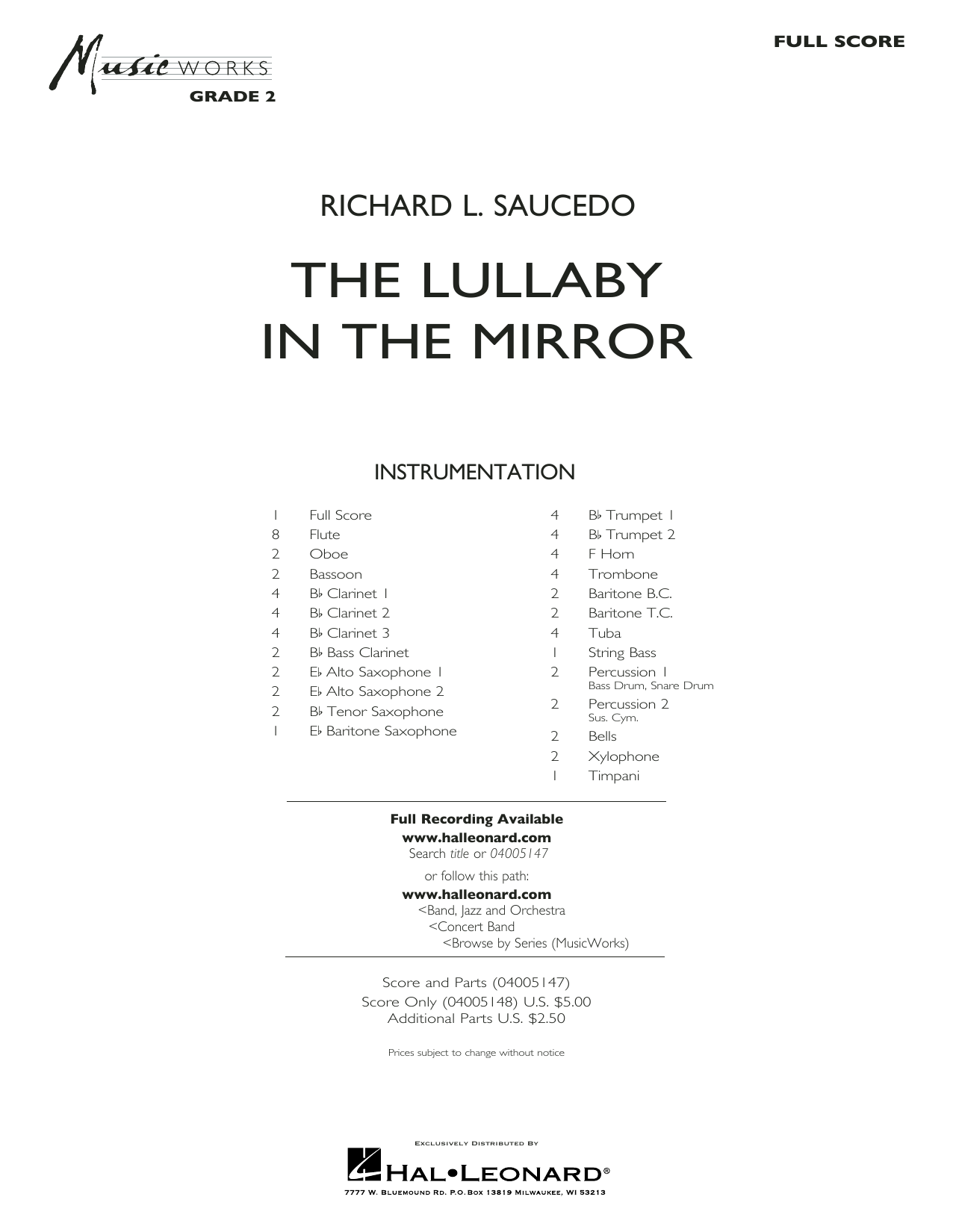 Richard L. Saucedo The Lullaby in the Mirror - Full Score sheet music notes and chords. Download Printable PDF.