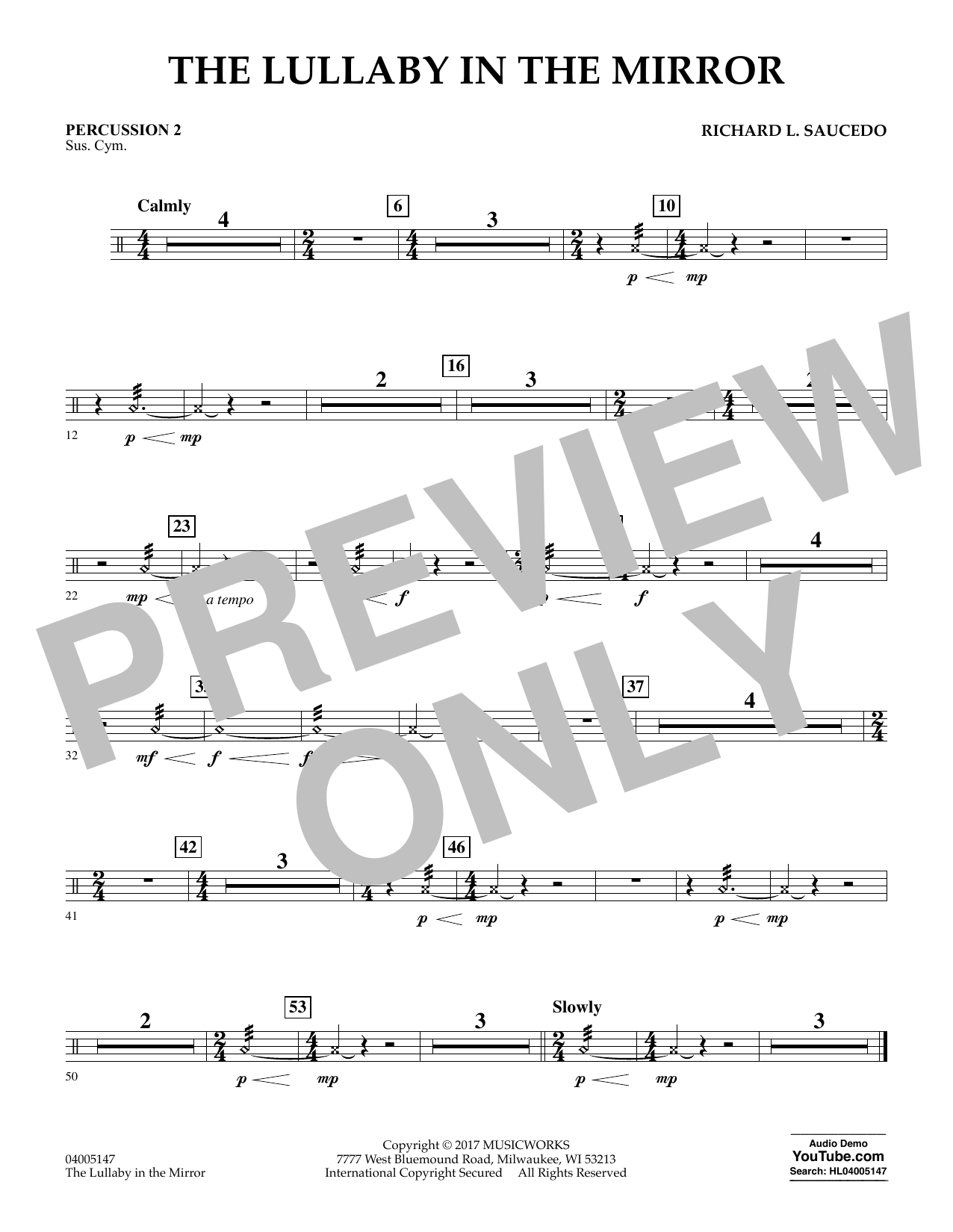 Richard L. Saucedo The Lullaby in the Mirror - Percussion 2 sheet music notes and chords. Download Printable PDF.