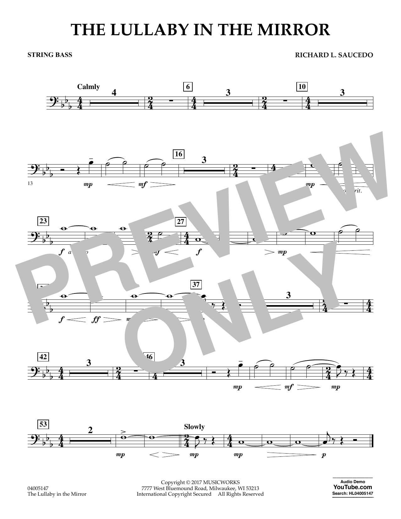 Richard L. Saucedo The Lullaby in the Mirror - String Bass sheet music notes and chords. Download Printable PDF.