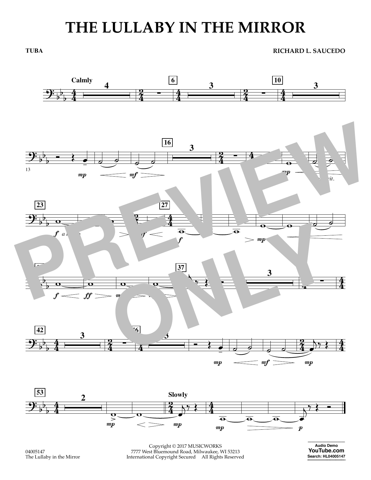 Richard L. Saucedo The Lullaby in the Mirror - Tuba sheet music notes and chords. Download Printable PDF.