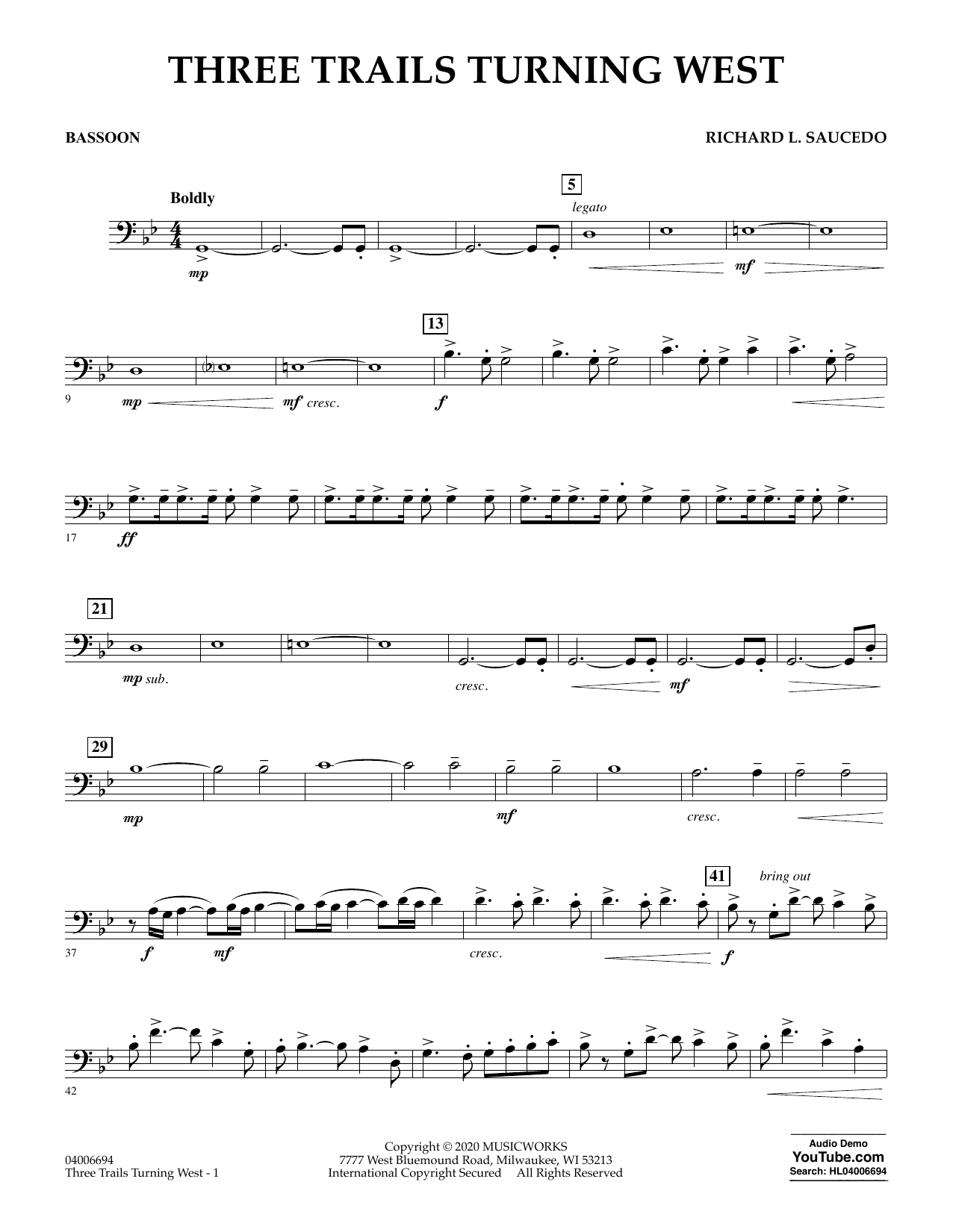 Richard L. Saucedo Three Trails Turning West - Bassoon sheet music notes and chords. Download Printable PDF.