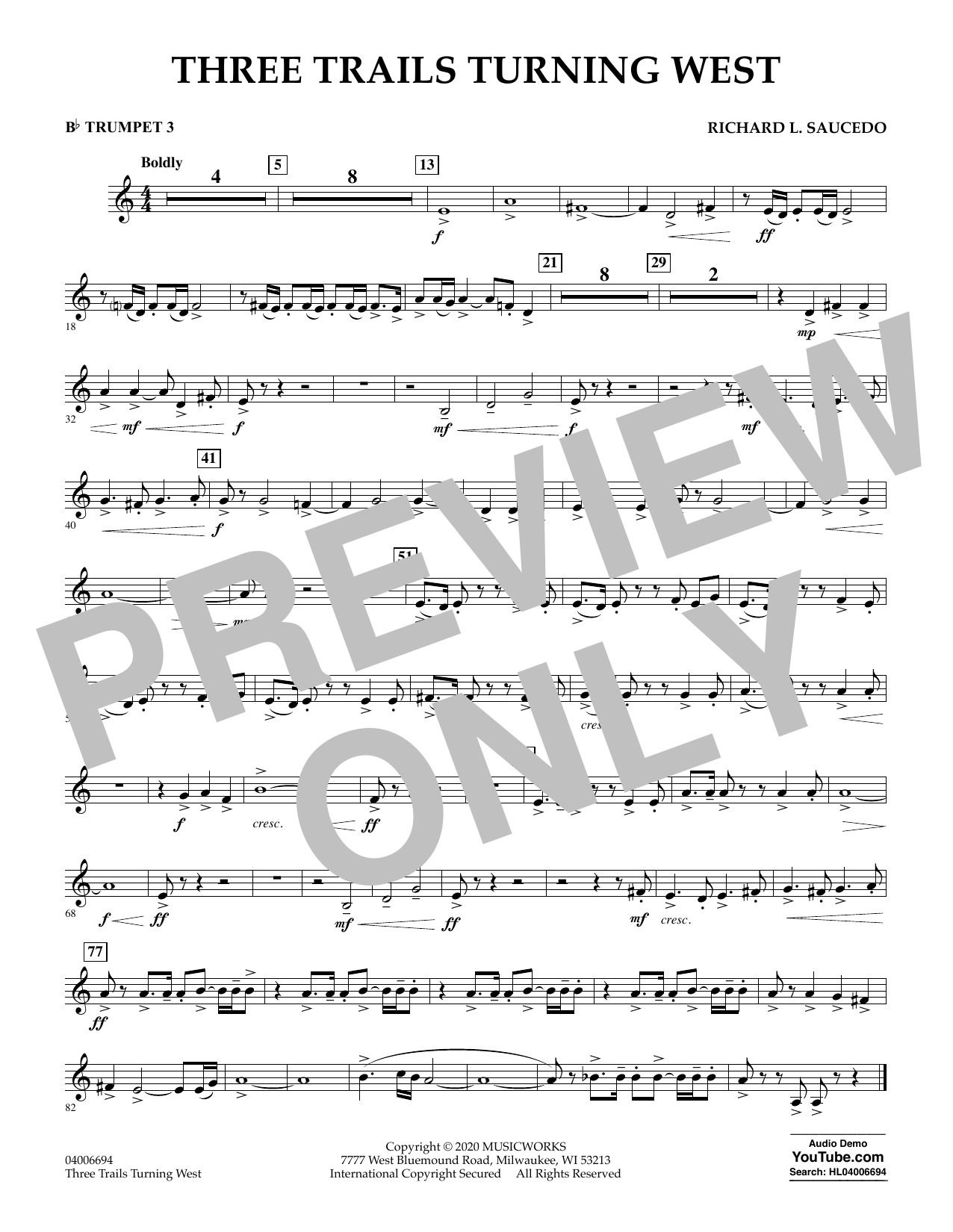 Richard L. Saucedo Three Trails Turning West - Bb Trumpet 3 sheet music notes and chords. Download Printable PDF.