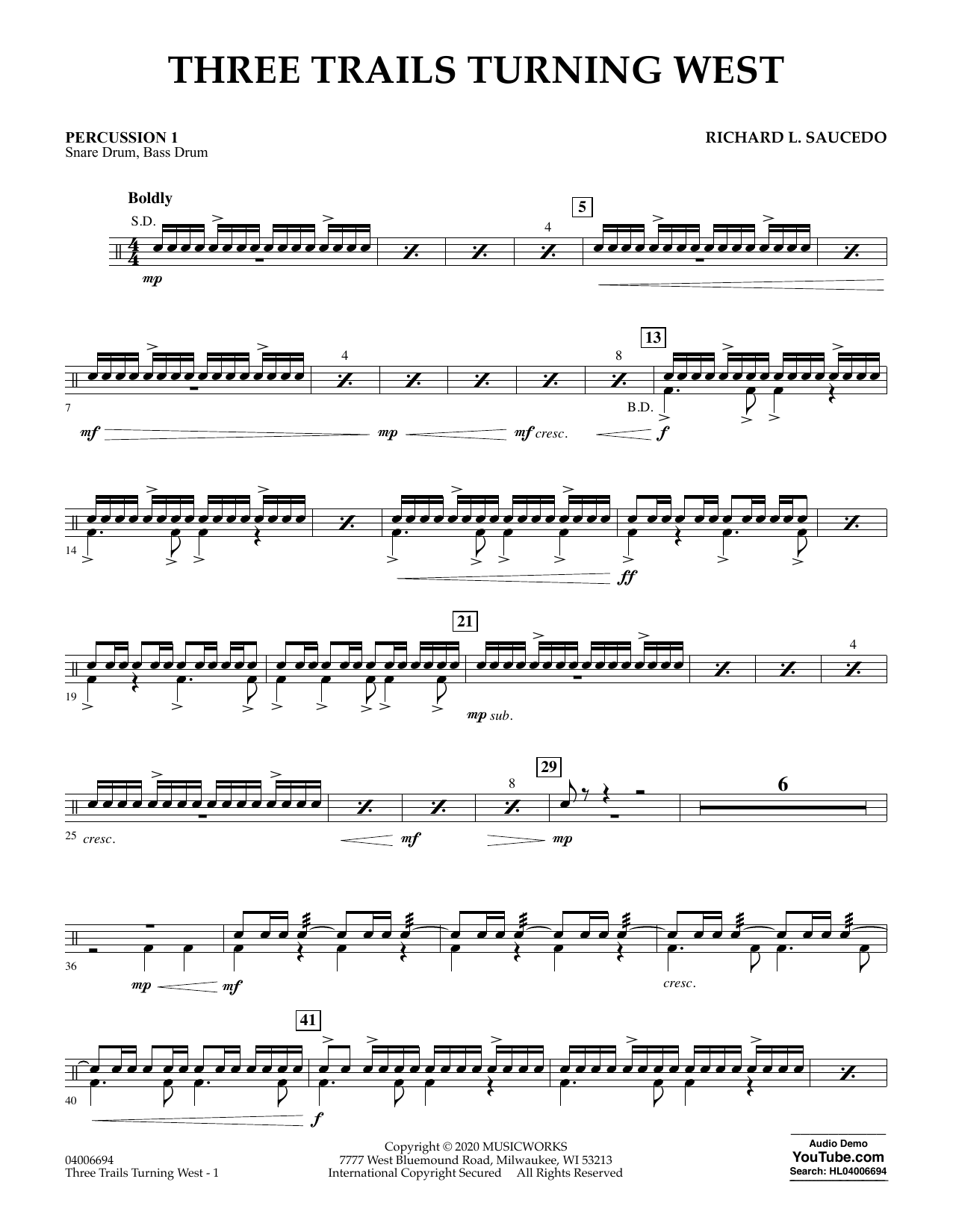 Richard L. Saucedo Three Trails Turning West - Percussion 1 sheet music notes and chords. Download Printable PDF.