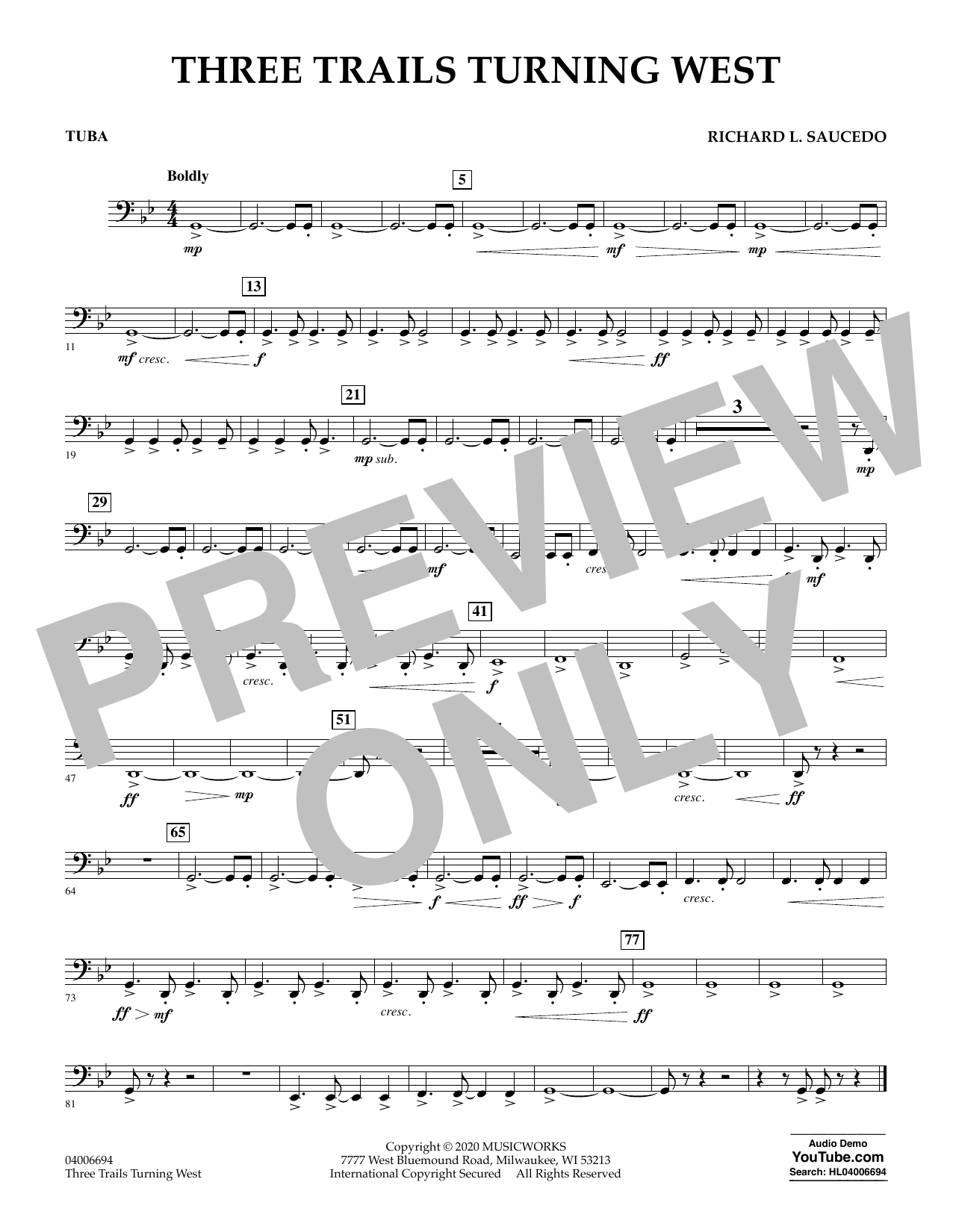 Richard L. Saucedo Three Trails Turning West - Tuba sheet music notes and chords. Download Printable PDF.