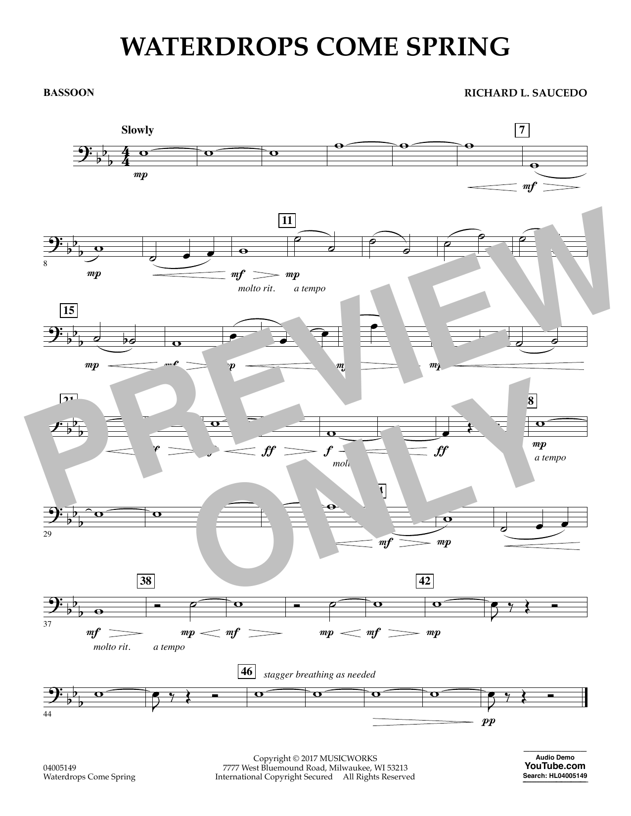 Richard L. Saucedo Waterdrops Come Spring - Bassoon sheet music notes and chords. Download Printable PDF.