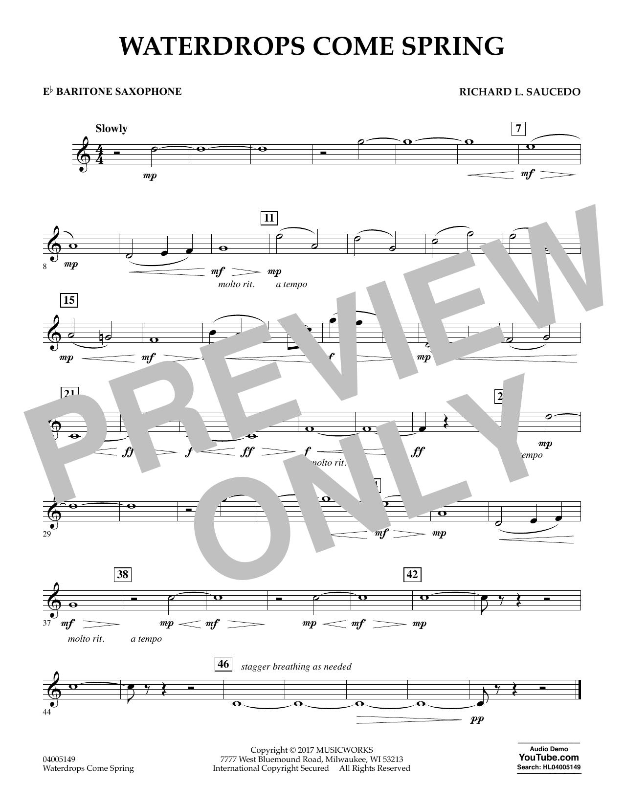 Richard L. Saucedo Waterdrops Come Spring - Eb Baritone Saxophone sheet music notes and chords. Download Printable PDF.