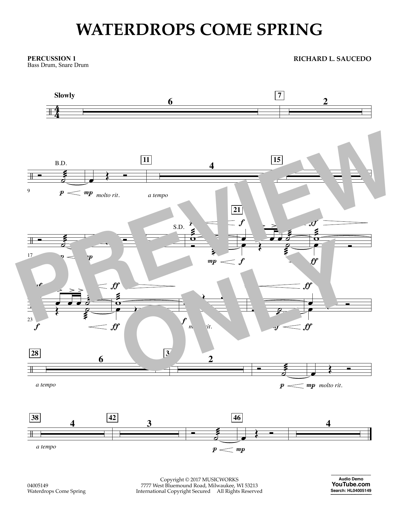 Richard L. Saucedo Waterdrops Come Spring - Percussion 1 sheet music notes and chords. Download Printable PDF.