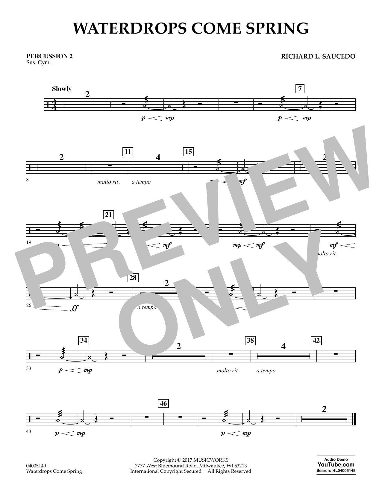 Richard L. Saucedo Waterdrops Come Spring - Percussion 2 sheet music notes and chords. Download Printable PDF.