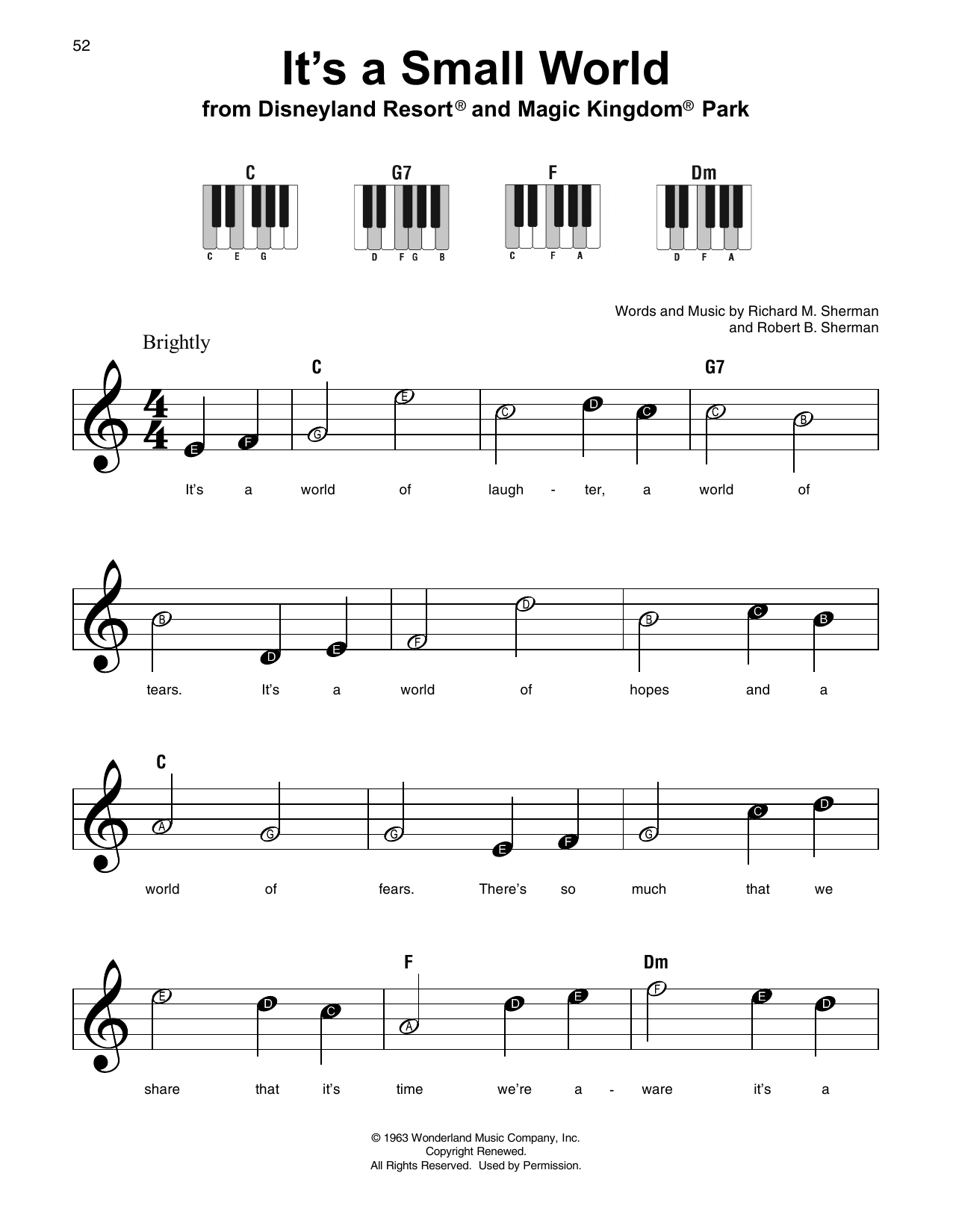Richard M. Sherman It's A Small World sheet music notes and chords. Download Printable PDF.