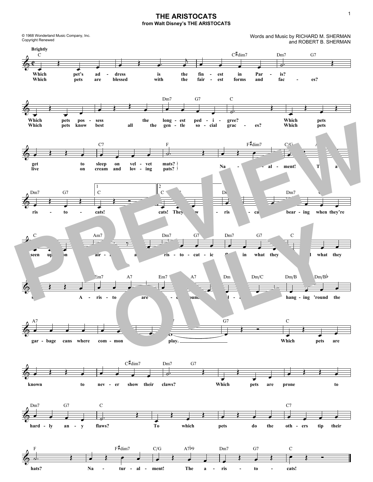 Richard M. Sherman The Aristocats sheet music notes and chords. Download Printable PDF.