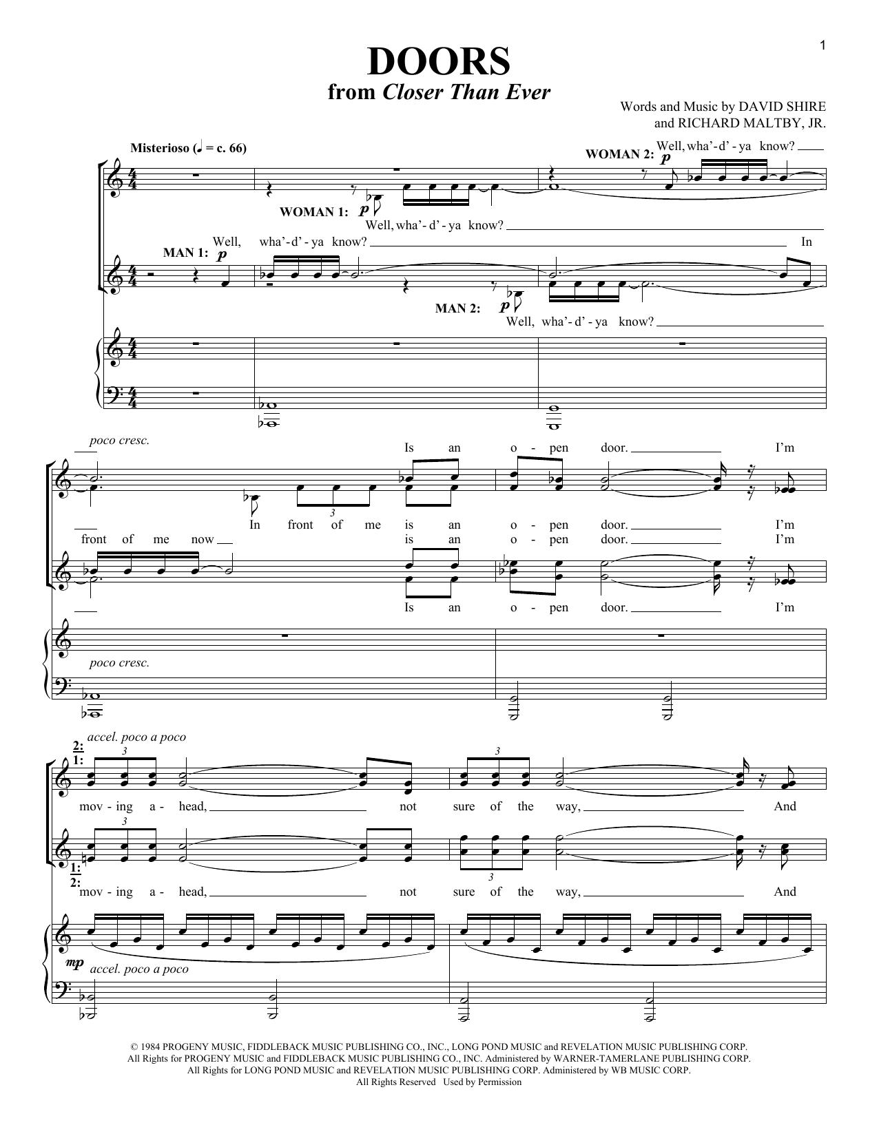 Richard Maltby, Jr. Doors sheet music notes and chords. Download Printable PDF.