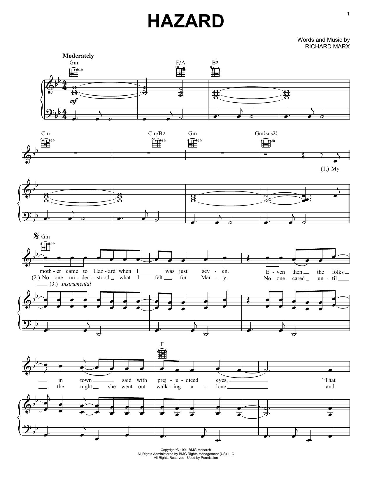 Richard Marx Hazard sheet music notes and chords. Download Printable PDF.